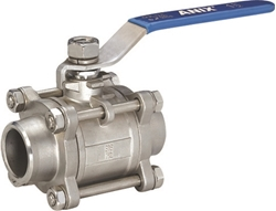 Picture of ANIX Stainless Steel Socket Weld End 3-Piece Full Port Ball Valve 1000 WOG