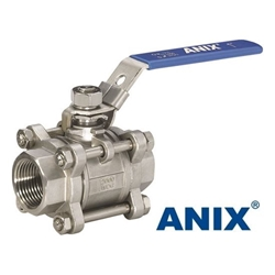 Picture of ANIX Stainless Steel 3-Piece Full Port Ball Valve 1000 / 2000 WOG  Threaded NPT